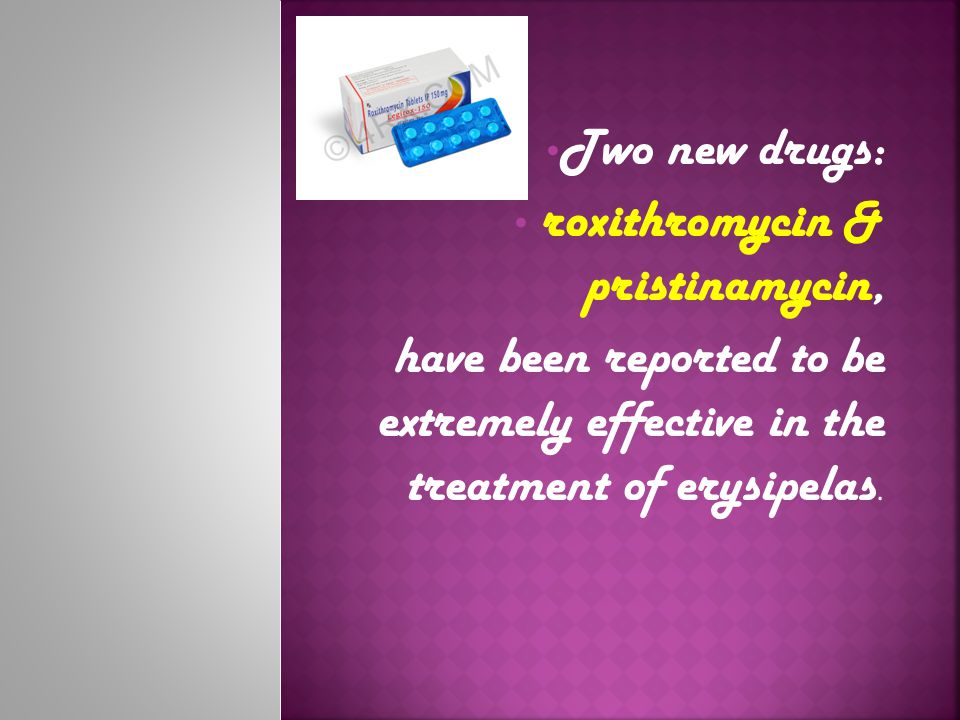 Two new drugs: roxithromycin & pristinamycin, have been reported to be extremely effective in the treatment of erysipelas.