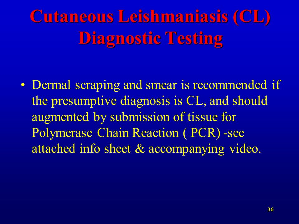 Cutaneous Leishmaniasis (CL) Diagnostic Testing
