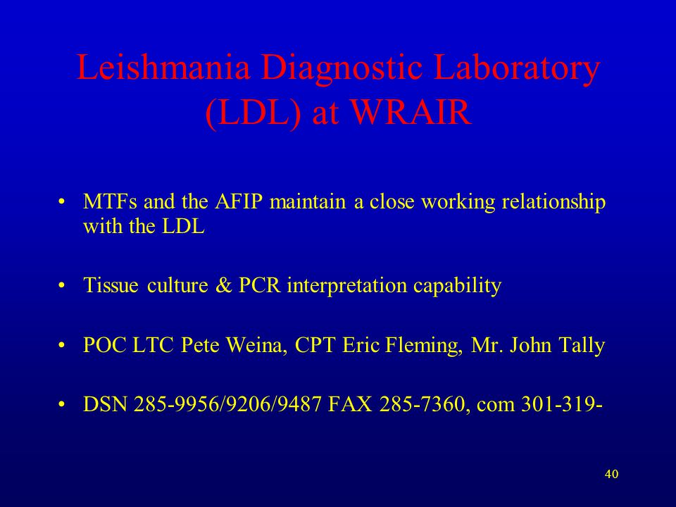 Leishmania Diagnostic Laboratory (LDL) at WRAIR