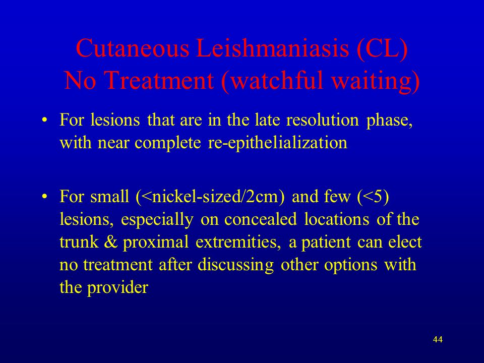 Cutaneous Leishmaniasis (CL) No Treatment (watchful waiting)