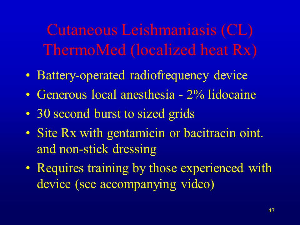 Cutaneous Leishmaniasis (CL) ThermoMed (localized heat Rx)