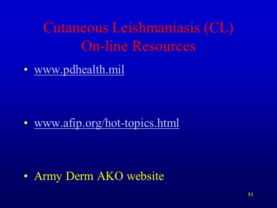 Cutaneous Leishmaniasis (CL) On-line Resources