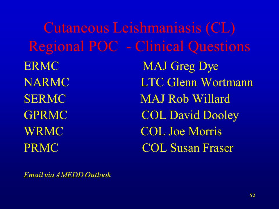 Cutaneous Leishmaniasis (CL) Regional POC - Clinical Questions