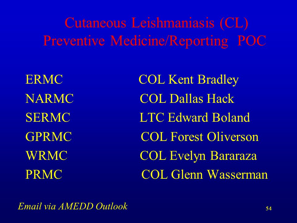 Cutaneous Leishmaniasis (CL) Preventive Medicine/Reporting POC