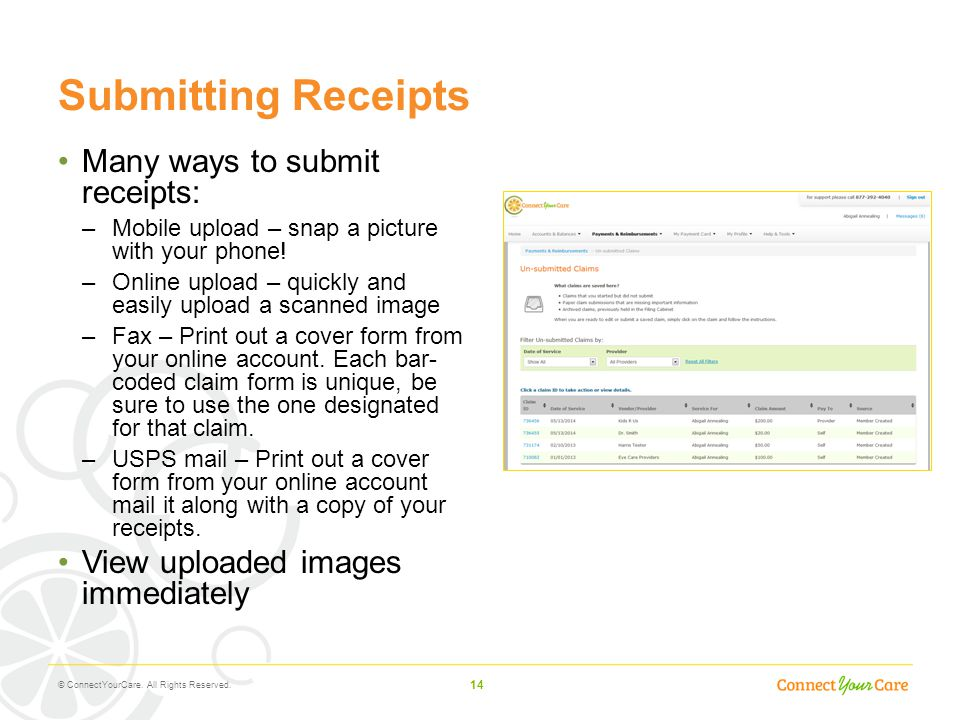 Submitting Receipts Many ways to submit receipts: