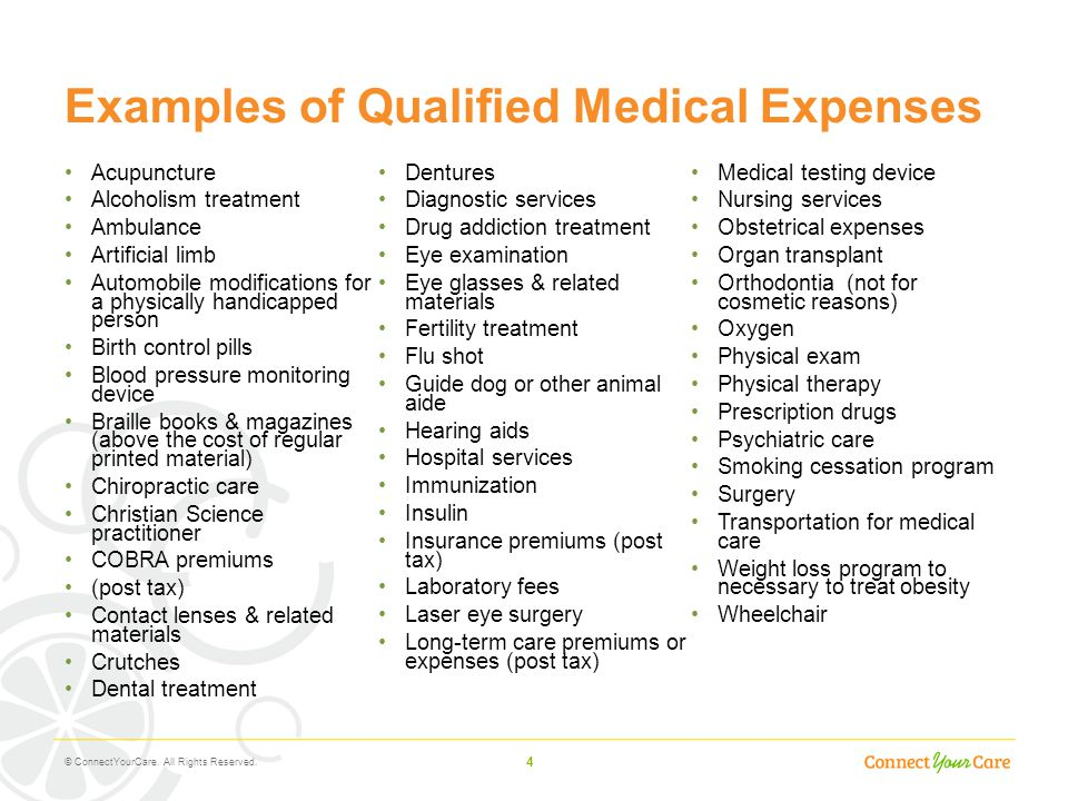 Examples of Qualified Medical Expenses