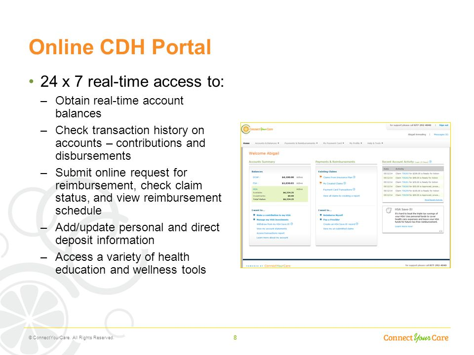 Online CDH Portal 24 x 7 real-time access to: