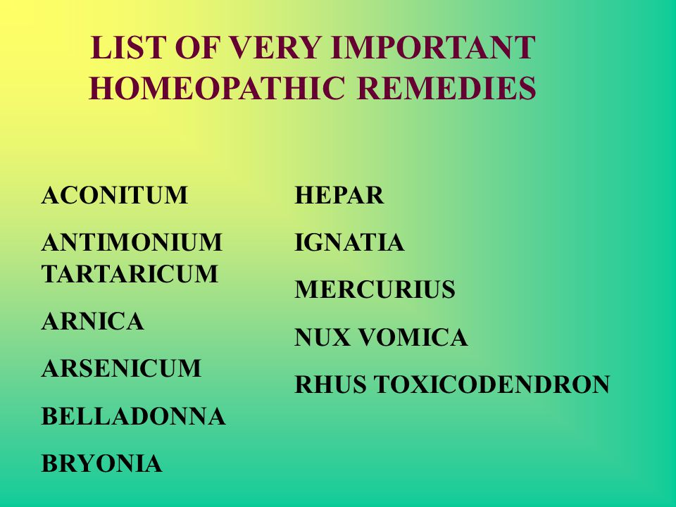 LIST OF VERY IMPORTANT HOMEOPATHIC REMEDIES