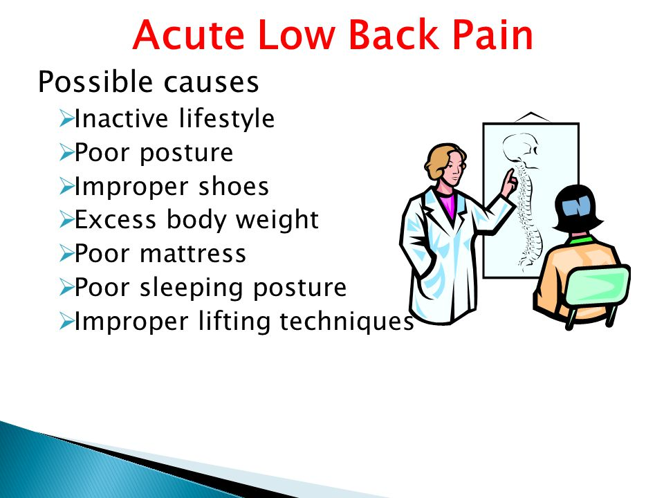 Acute Low Back Pain Possible causes Inactive lifestyle Poor posture