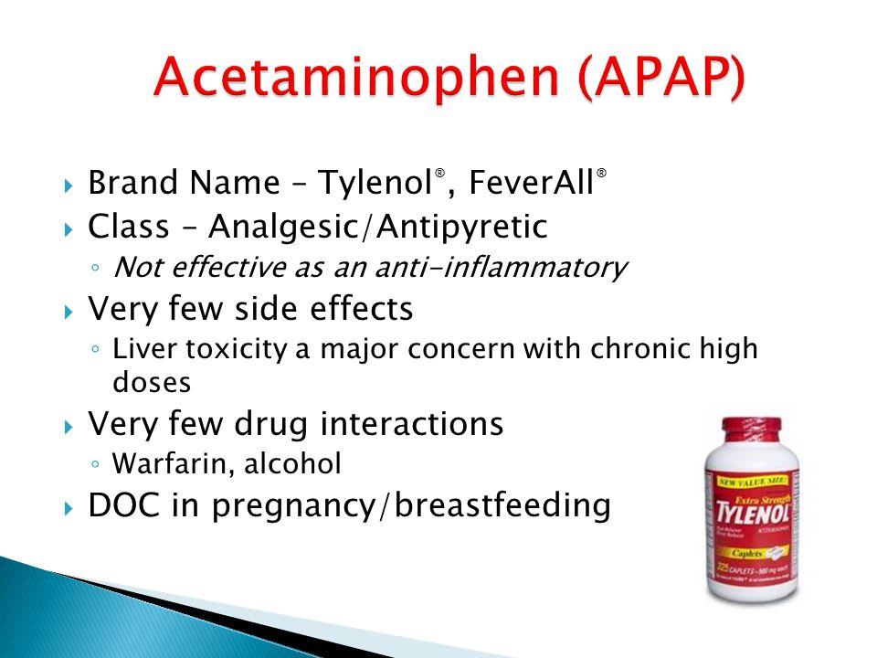 Acetaminophen (APAP) Brand Name – Tylenol®, FeverAll®