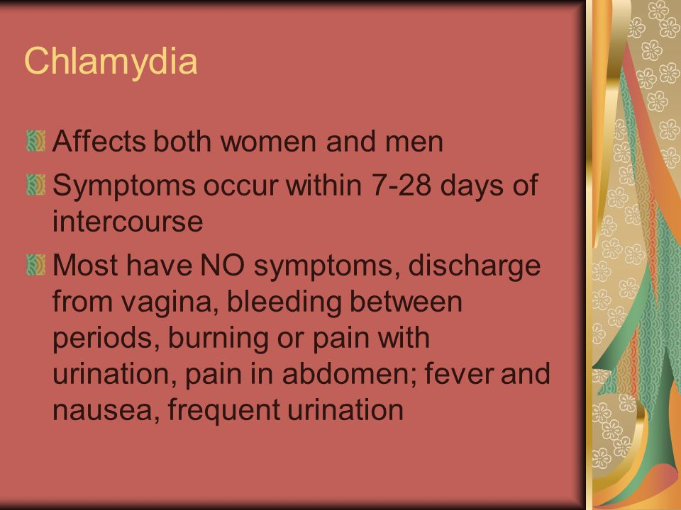 Chlamydia Affects both women and men