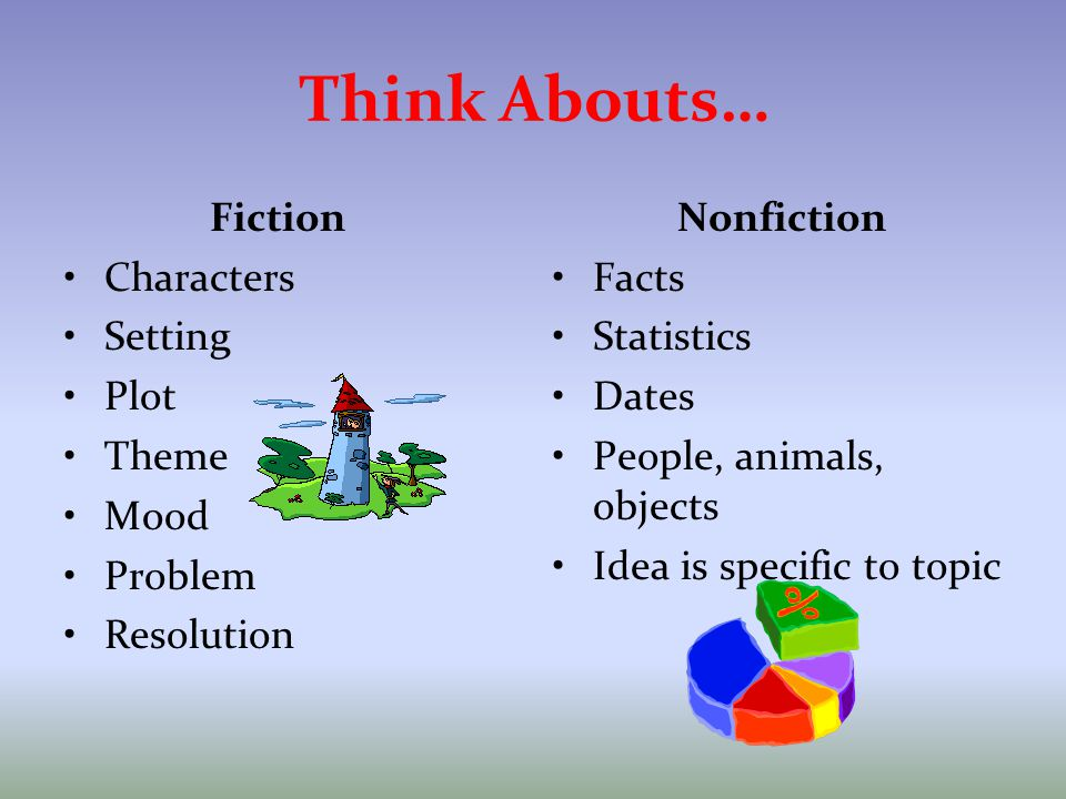 Think Abouts… Fiction Characters Setting Plot Theme Mood Problem