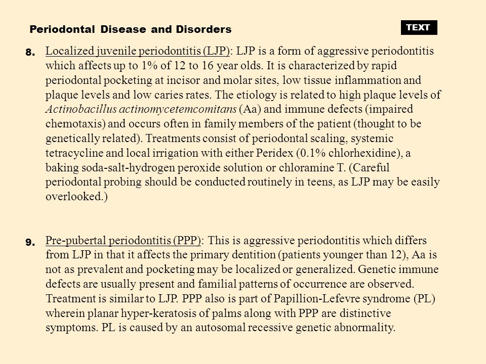 Periodontal Disease and Disorders