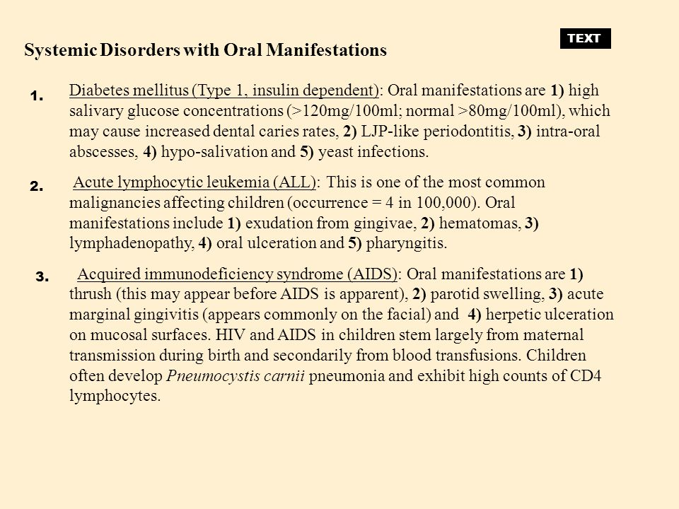 Systemic Disorders with Oral Manifestations