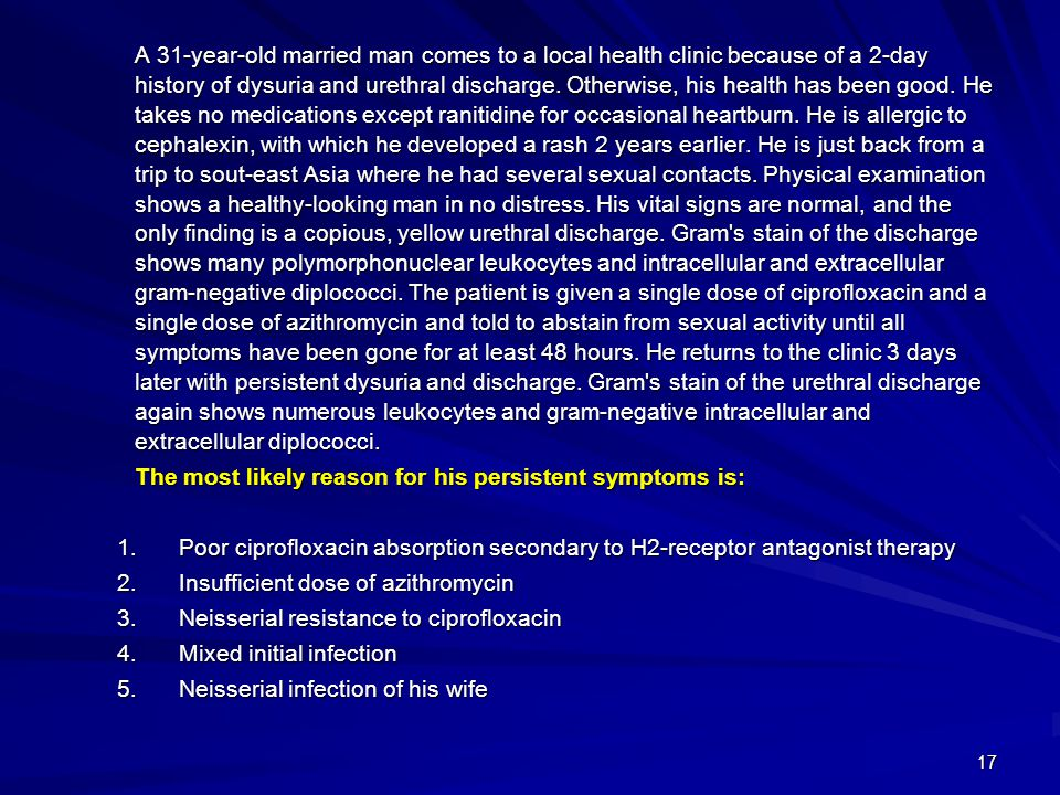 The most likely reason for his persistent symptoms is: