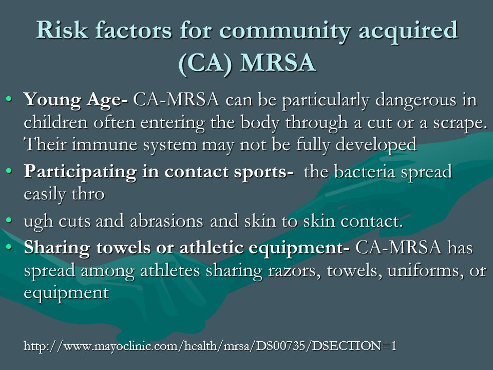 Risk factors for community acquired (CA) MRSA