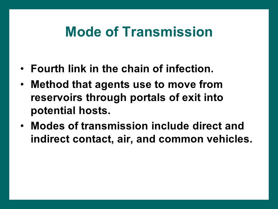 Mode of Transmission Fourth link in the chain of infection.