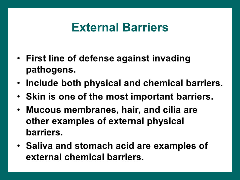 External Barriers First line of defense against invading pathogens.