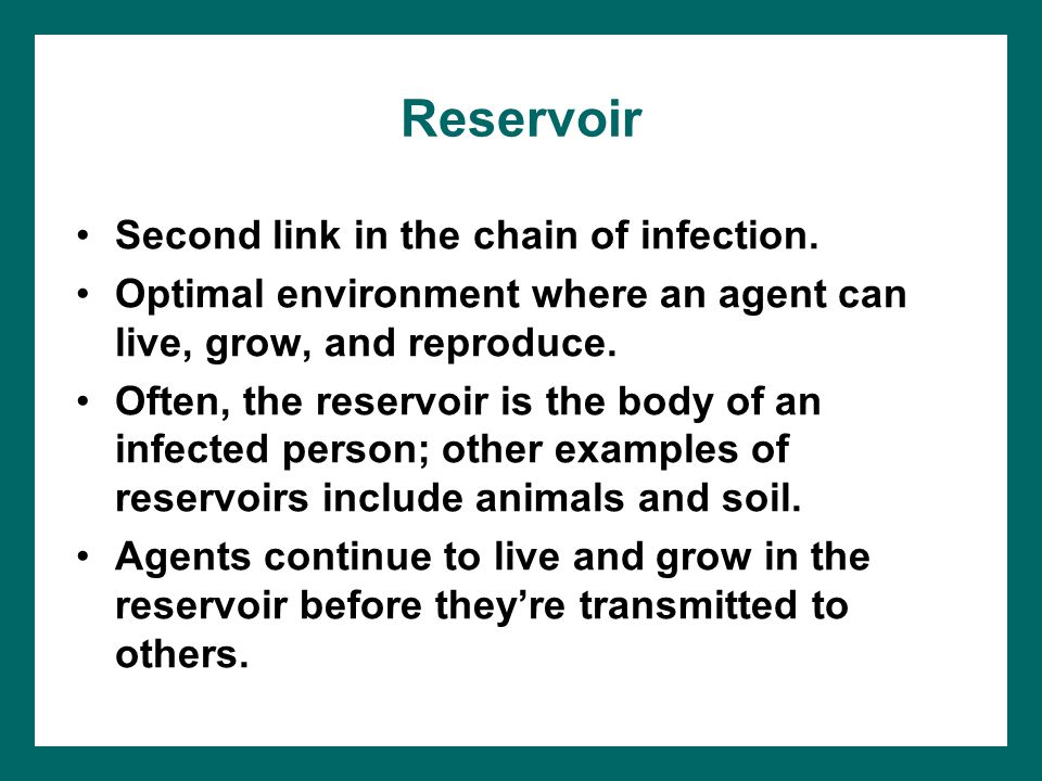 Reservoir Second link in the chain of infection.
