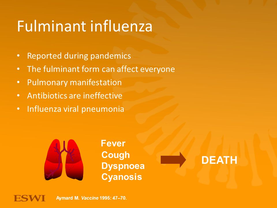 Fulminant influenza DEATH Reported during pandemics