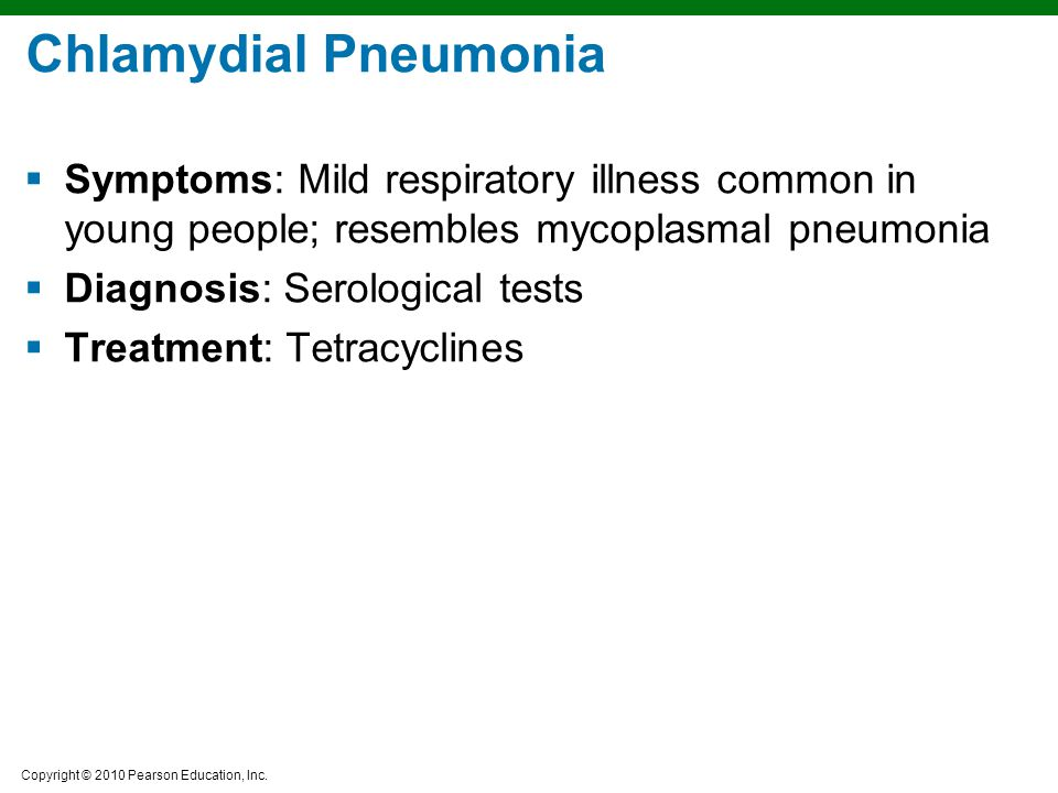 Chlamydial Pneumonia Symptoms: Mild respiratory illness common in young people; resembles mycoplasmal pneumonia.