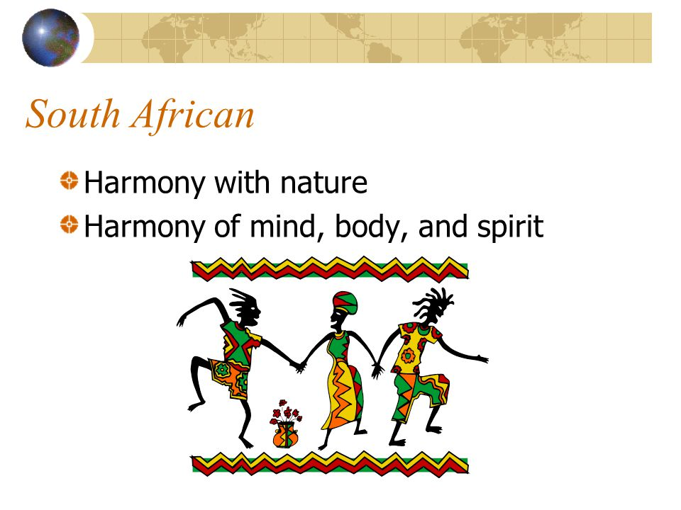 South African Harmony with nature Harmony of mind, body, and spirit