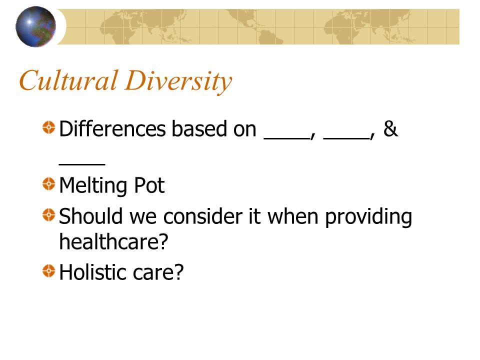 Cultural Diversity Differences based on ____, ____, & ____ Melting Pot