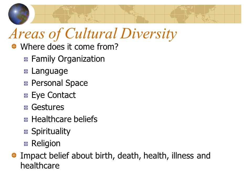 Areas of Cultural Diversity