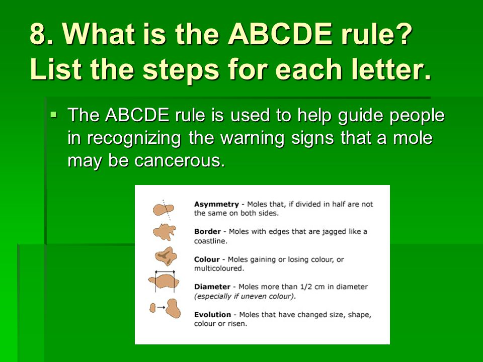 8. What is the ABCDE rule List the steps for each letter.