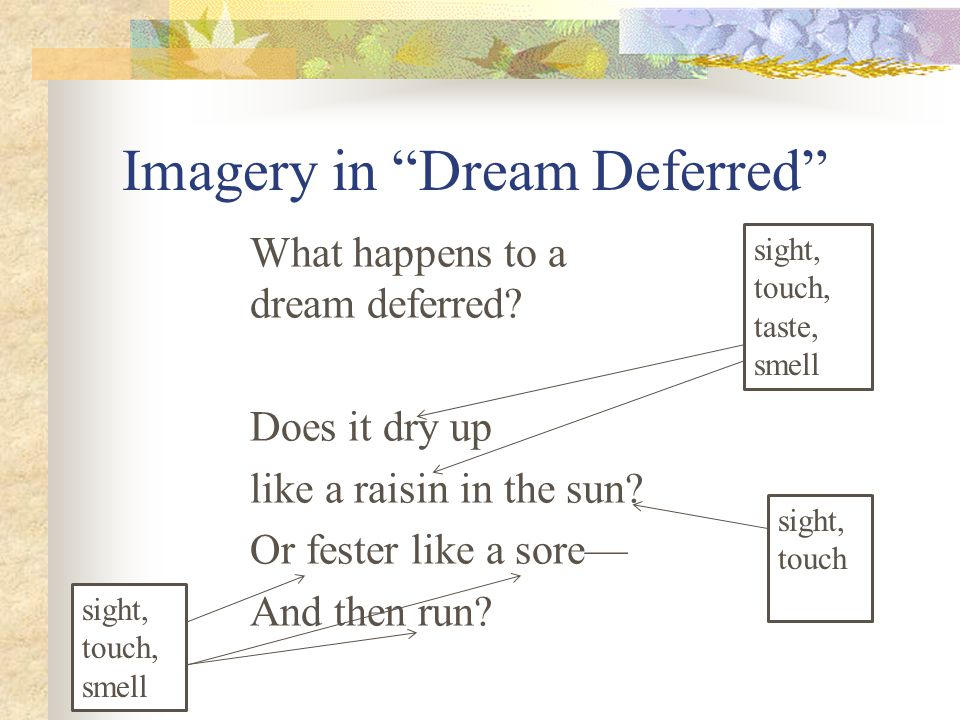 Imagery in Dream Deferred
