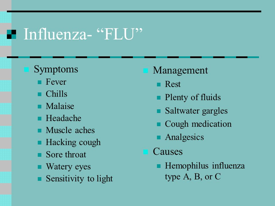 Influenza- FLU Symptoms Management Causes Fever Rest Chills