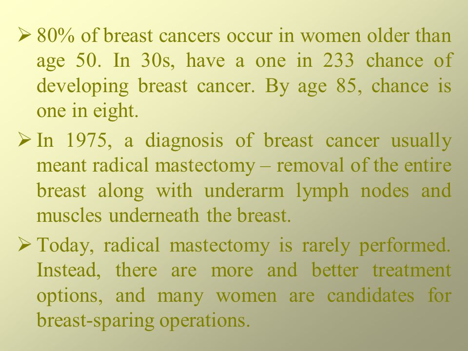 80% of breast cancers occur in women older than age 50