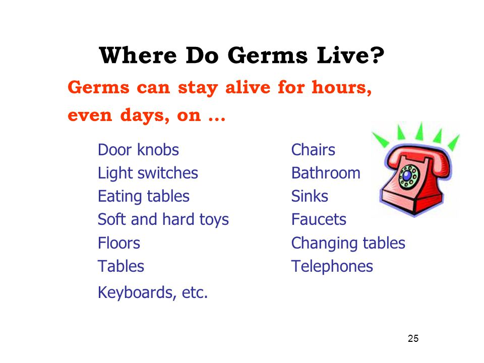 Where Do Germs Live Germs can stay alive for hours, even days, on …