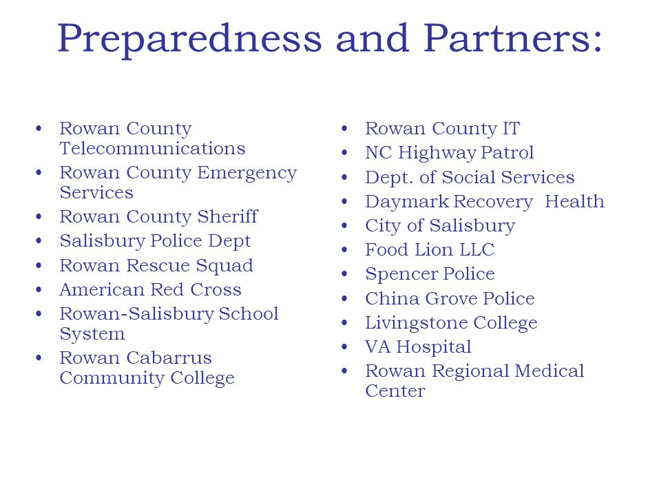 Preparedness and Partners: