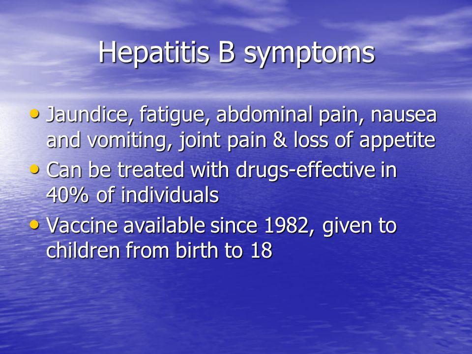 Hepatitis B symptoms Jaundice, fatigue, abdominal pain, nausea and vomiting, joint pain & loss of appetite.