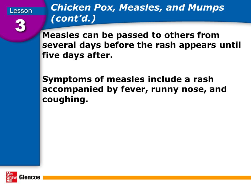 Chicken Pox, Measles, and Mumps (cont'd.)