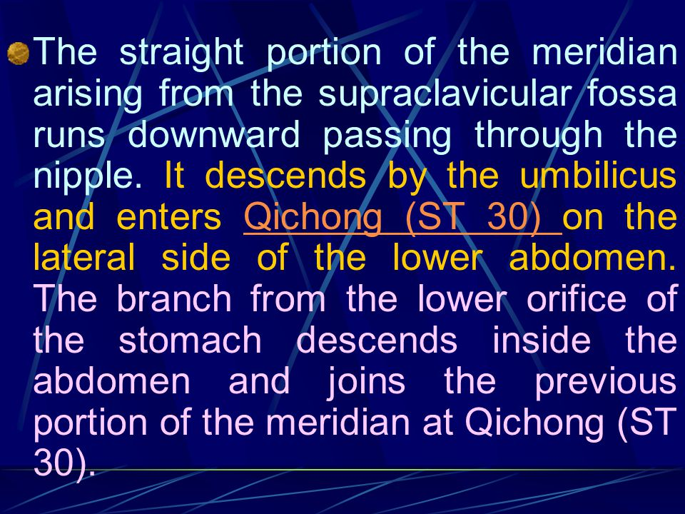 The straight portion of the meridian arising from the supraclavicular fossa runs downward passing through the nipple.