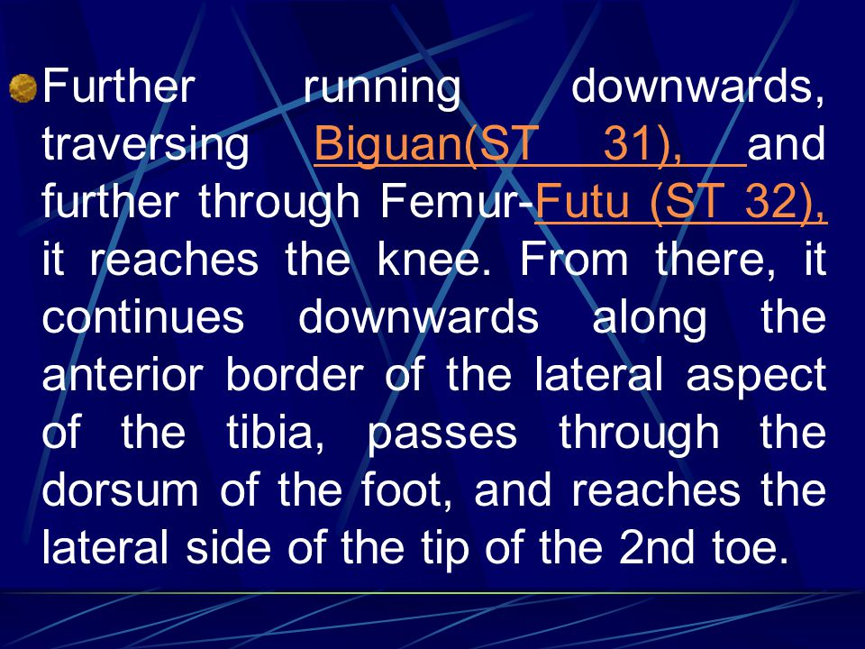 Further running downwards, traversing Biguan(ST 31), and further through Femur-Futu (ST 32), it reaches the knee.