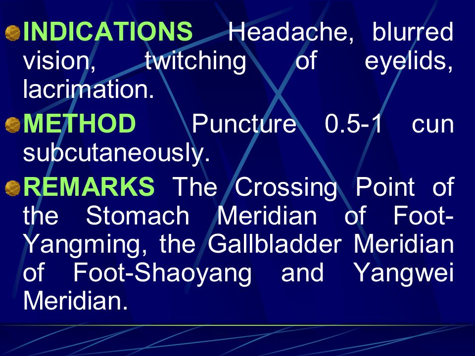INDICATIONS Headache, blurred vision, twitching of eyelids, lacrimation.