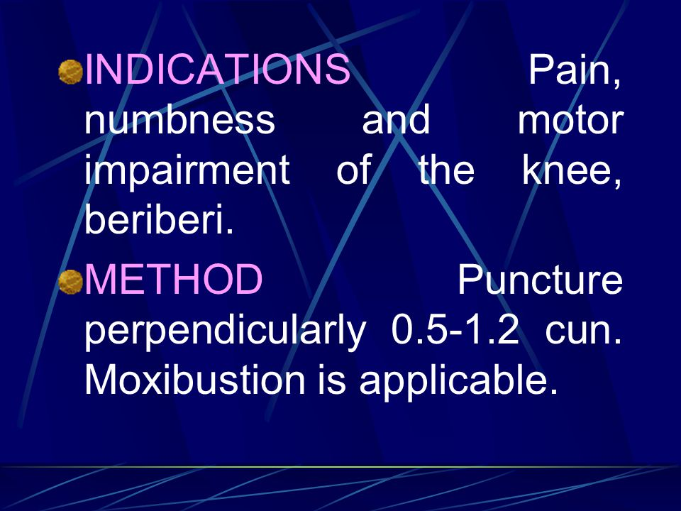 INDICATIONS Pain, numbness and motor impairment of the knee, beriberi.
