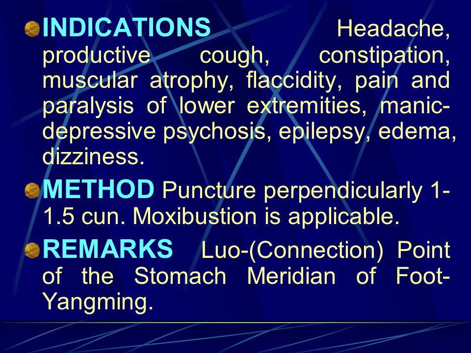 INDICATIONS Headache, productive cough, constipation, muscular atrophy, flaccidity, pain and paralysis of lower extremities, manic-depressive psychosis, epilepsy, edema, dizziness.