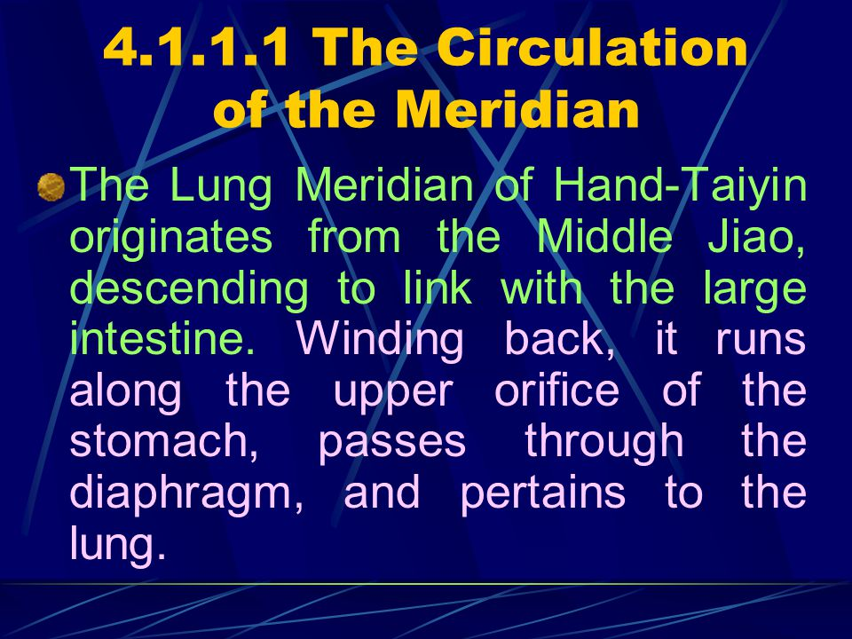 4.1.1.1 The Circulation of the Meridian