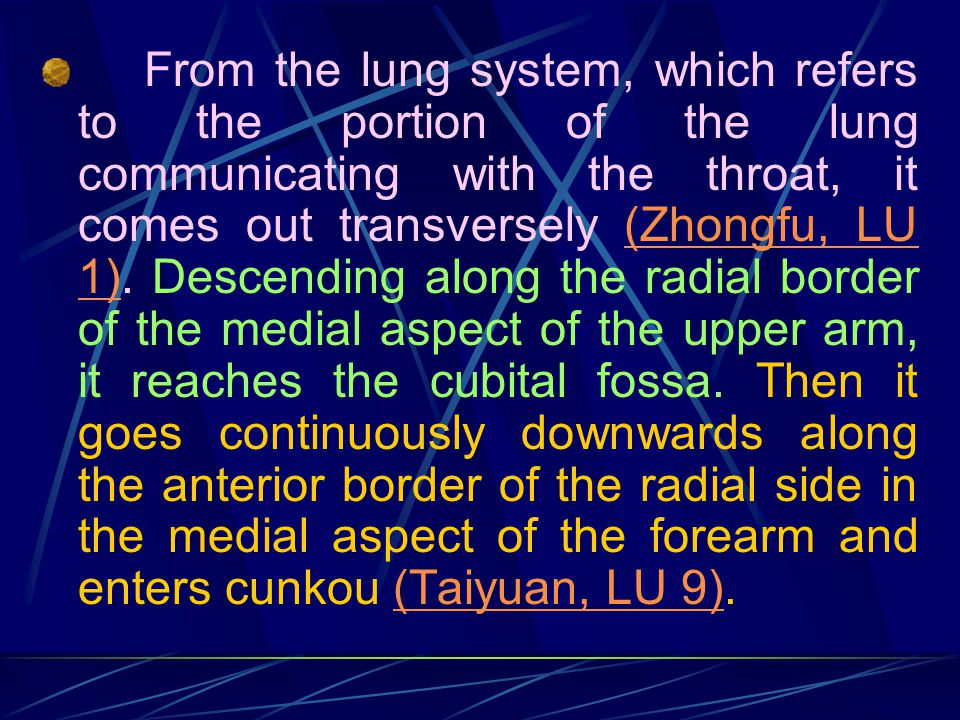 From the lung system, which refers to the portion of the lung communicating with the throat, it comes out transversely (Zhongfu, LU 1).