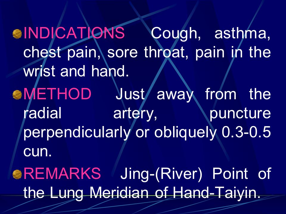 INDICATIONS Cough, asthma, chest pain, sore throat, pain in the wrist and hand.