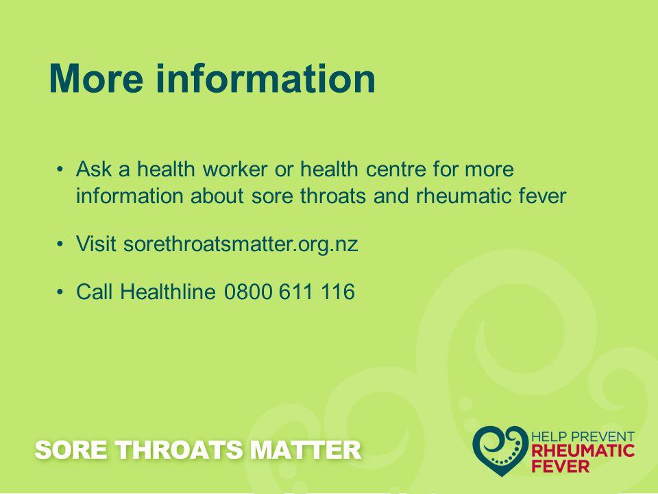 More information SORE THROATS MATTER