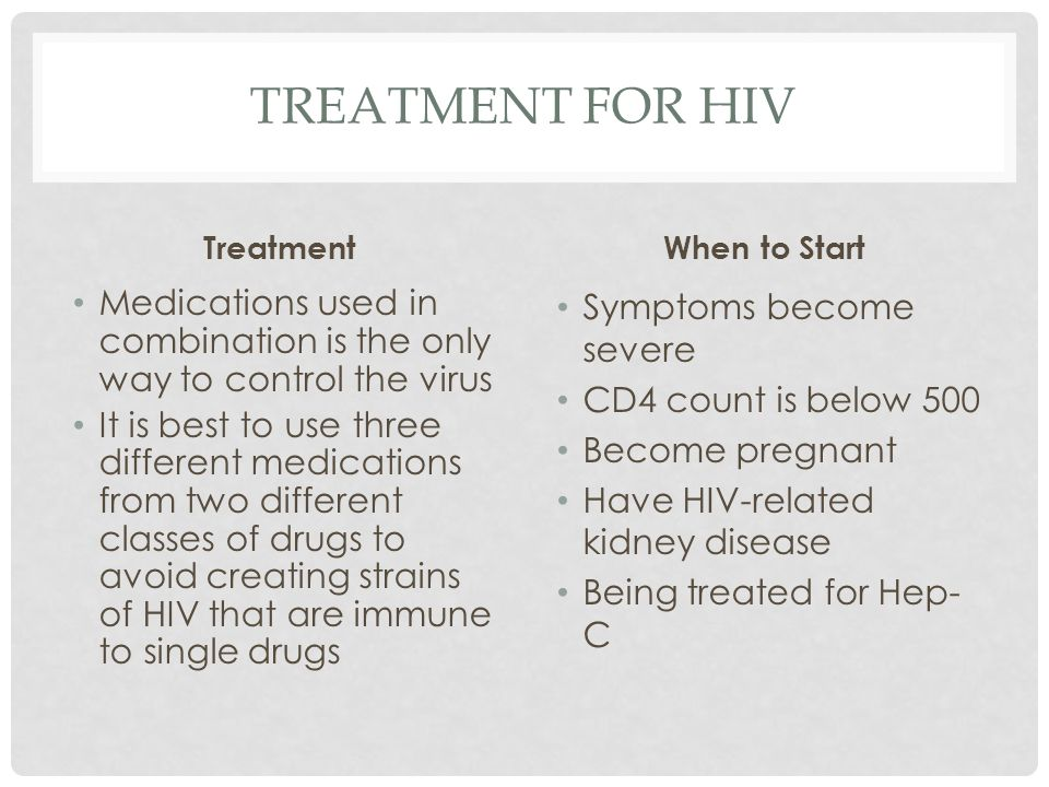 Treatment for hiv Treatment. When to Start. Medications used in combination is the only way to control the virus.