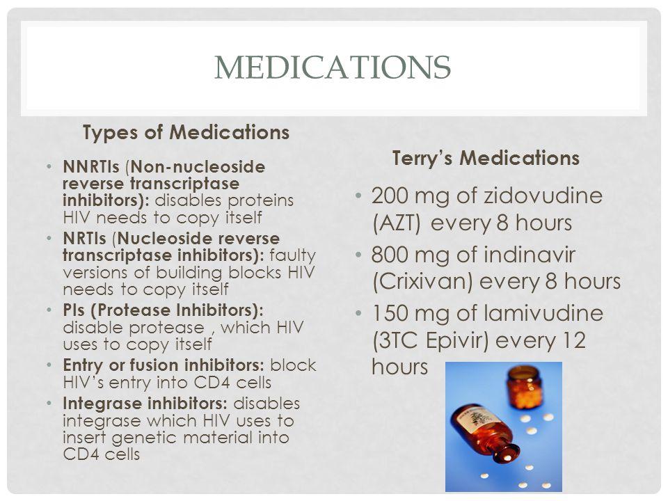 Medications 200 mg of zidovudine (AZT) every 8 hours