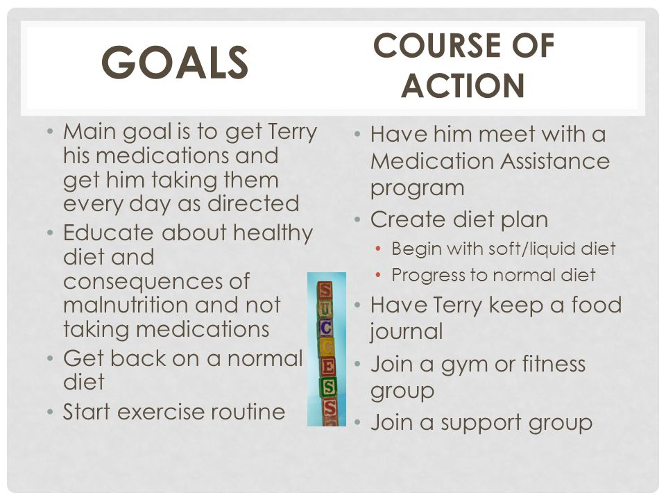 GOALS COURSE OF ACTION. Main goal is to get Terry his medications and get him taking them every day as directed.