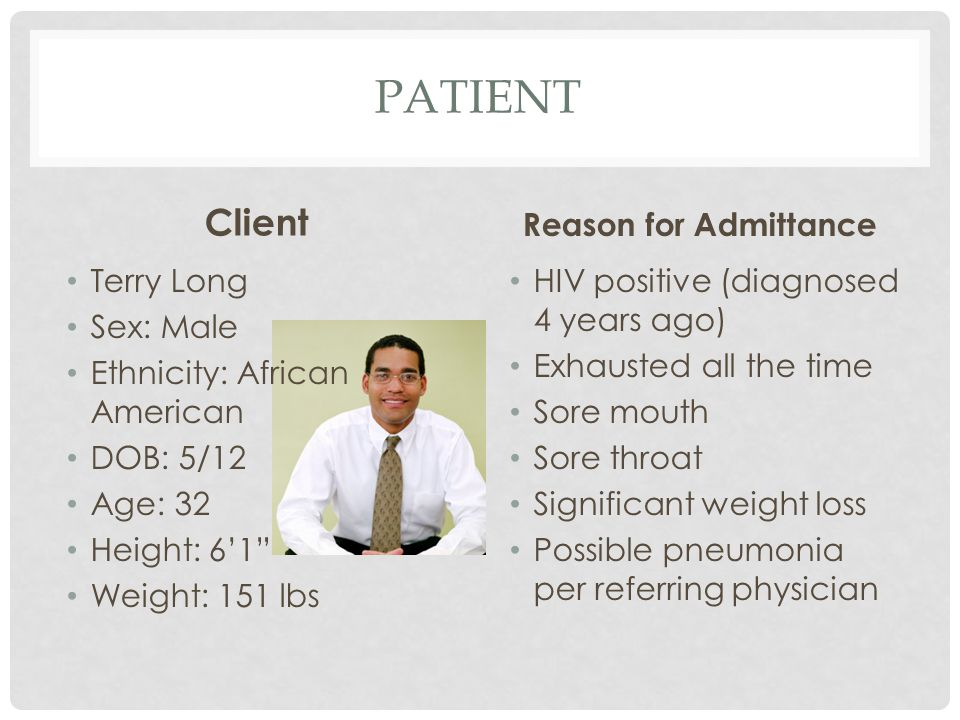Patient Client Reason for Admittance Terry Long Sex: Male