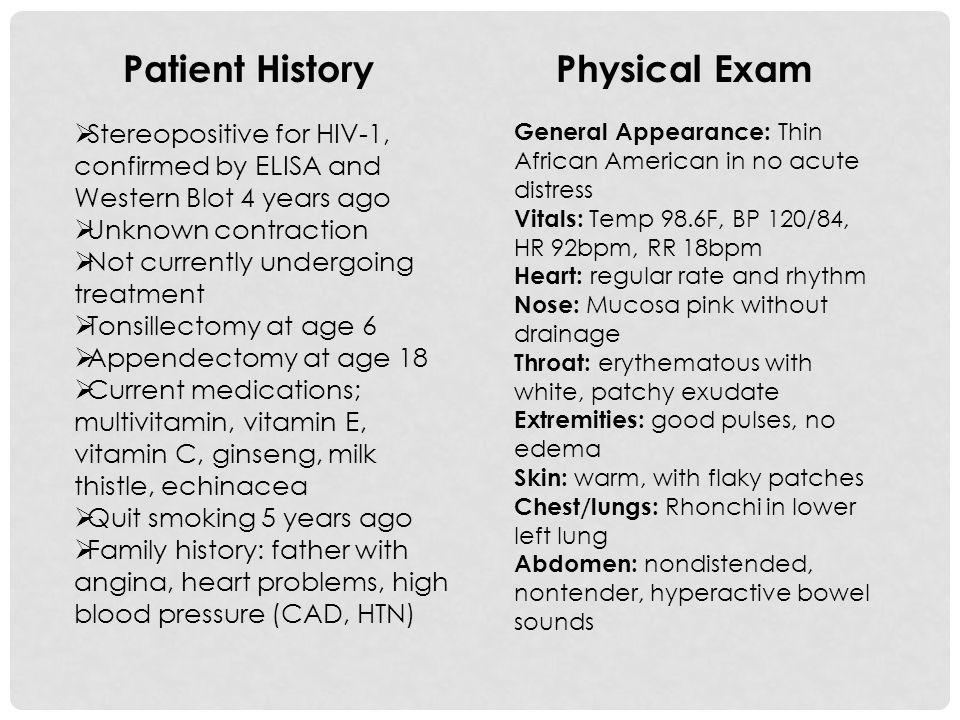 Patient History Physical Exam